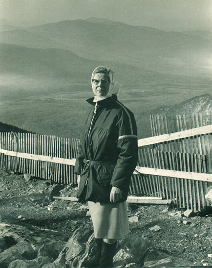 Alice Lewis at top of peak - circa 1967