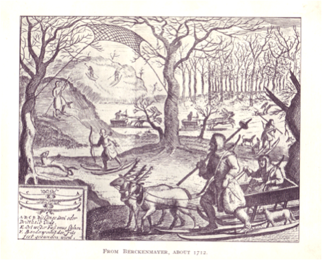 Illustration showing hunters on skis with single pole with disk, from Berckenmayer, 1712