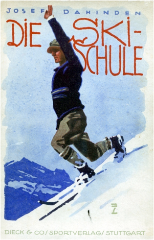 1925 - Cover illustration showing the manner of balanced ski-ing without poles