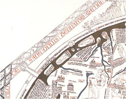 Illustration of portion of upper left of Hereford map; includes a Scandinavian island,