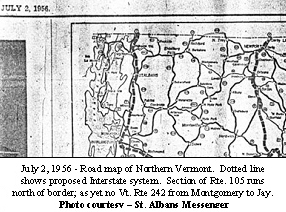 Road map of Northern Vermont
