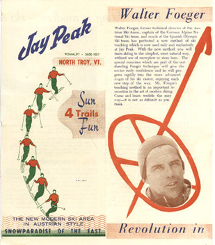 1958 brochure advertising Walter Foeger and a revolution in ski teaching