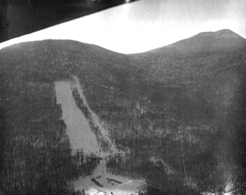Aerial view of Jay Peak in January 1957 showing the Open Slope